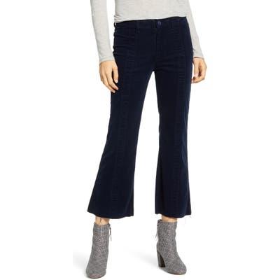 Ag Quinne Paneled Corduroy Crop Flare Pants, Blue