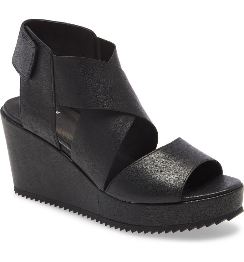 EILEEN FISHER Whimsy Platform Wedge Sandal, Main, color, BLACK LEATHER
