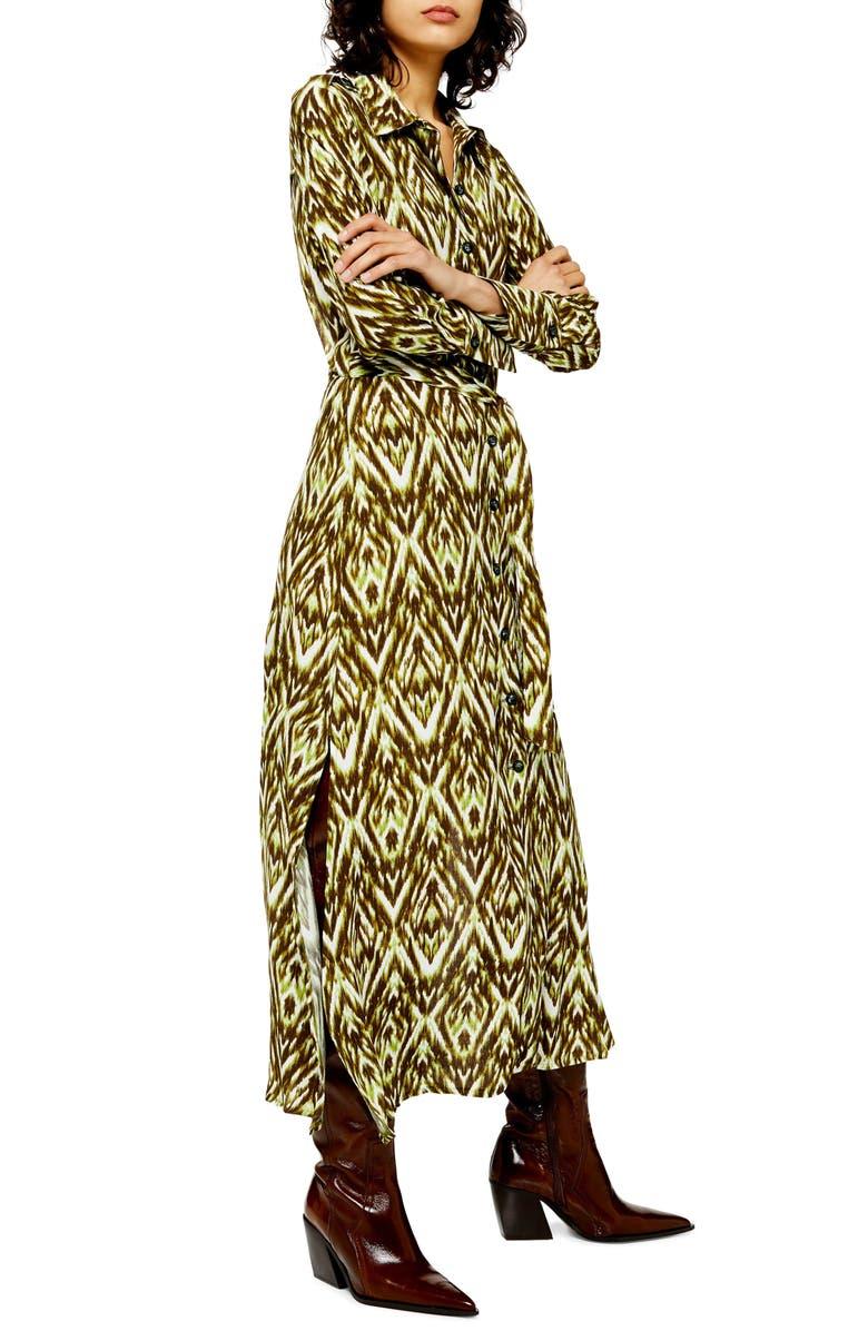 TOPSHOP Long Sleeve Open Back Zigzag Shirtdress, Main, color, GREEN