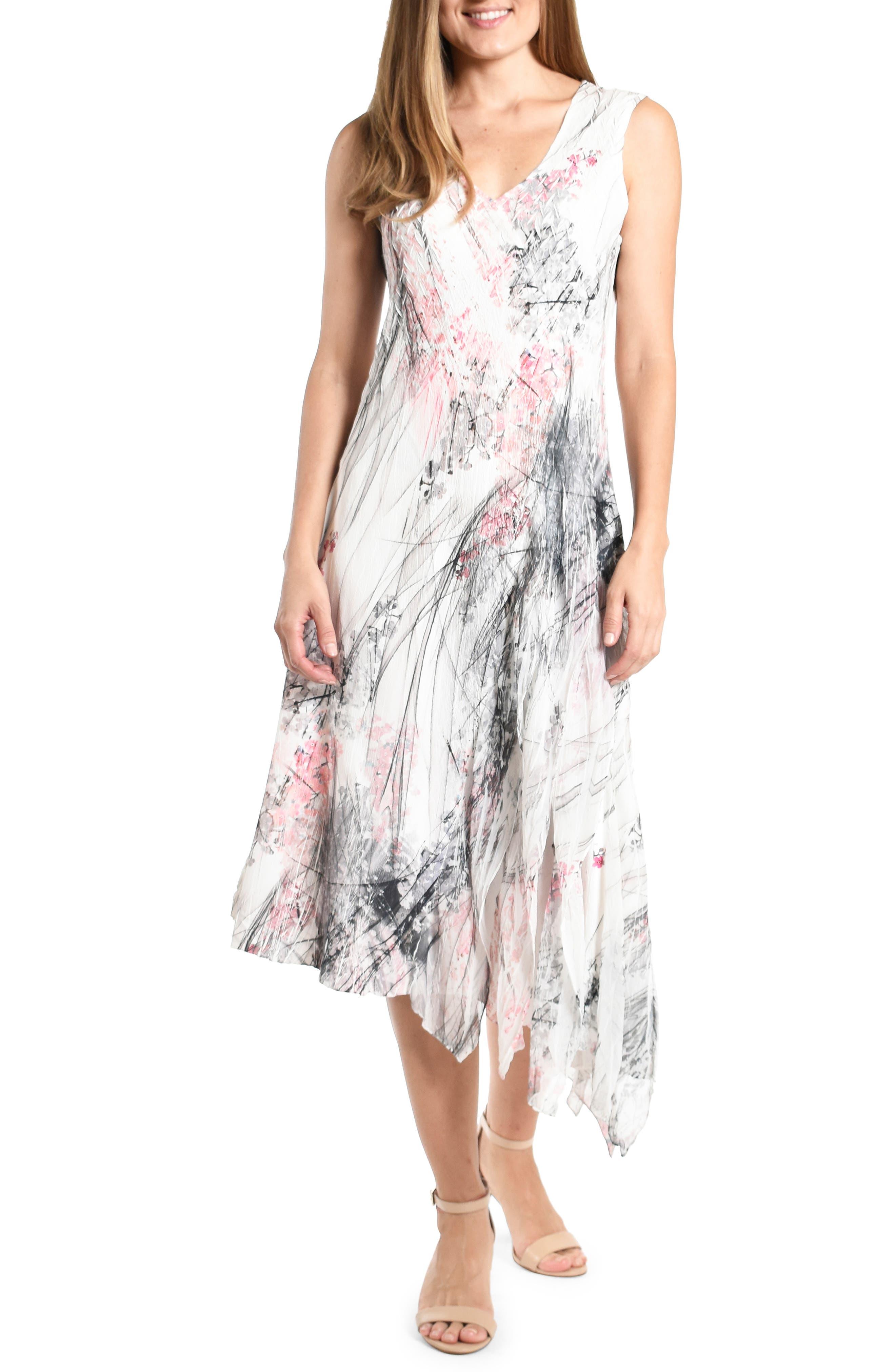 Asymmetrical Hem Georgette Cocktail Dress