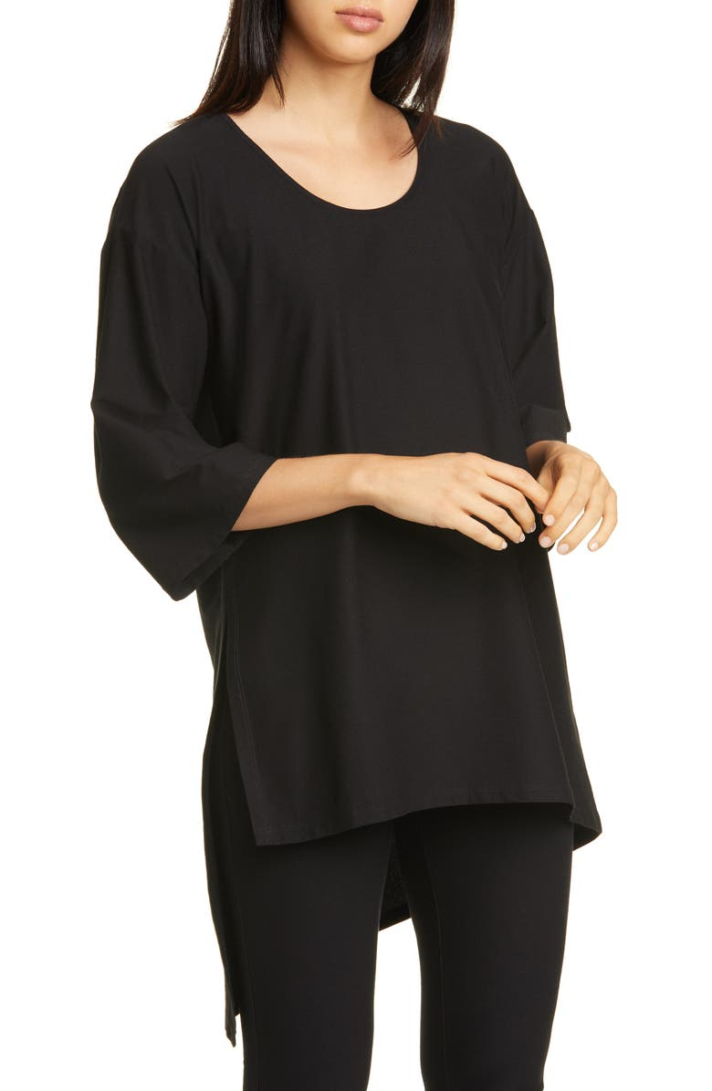 EILEEN FISHER Asymmetrical Tunic Top, Main, color, BLACK