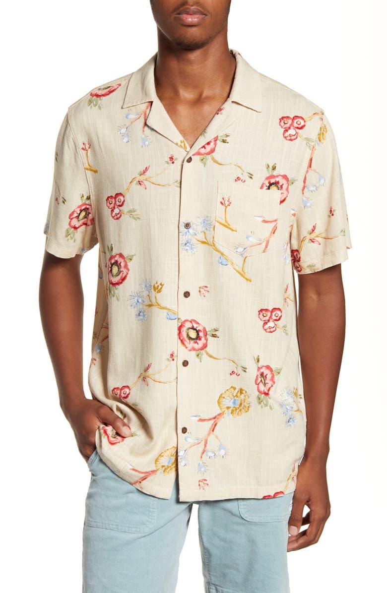 BANKS JOURNAL Symbols Floral Short Sleeve Button-Up Camp Shirt, Main, color, BONE