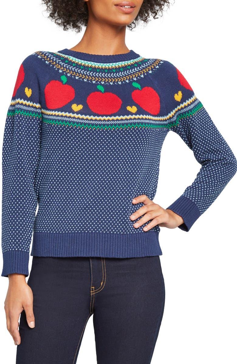 lovely design unique design new products ModCloth Fair Isle Apple Crewneck Cotton Sweater (Regular ...