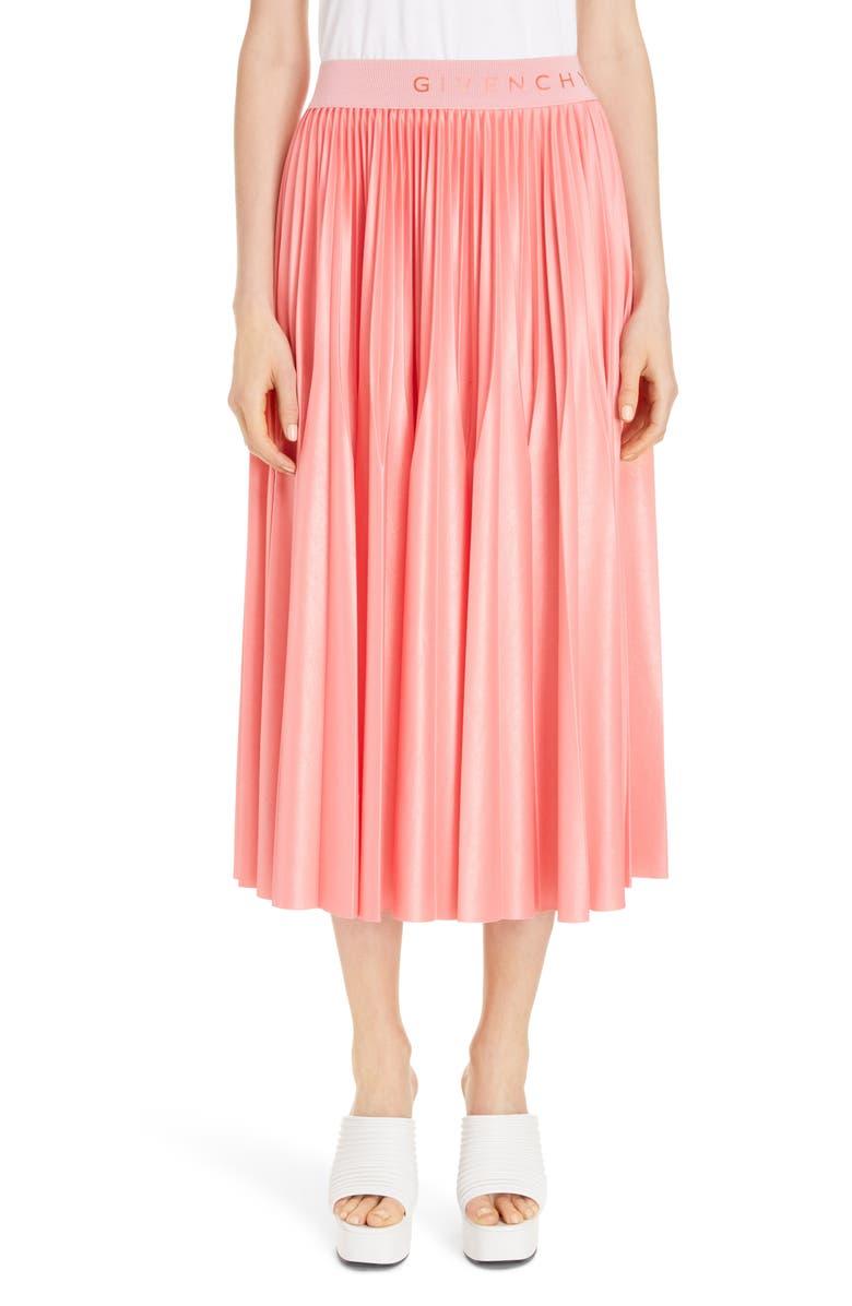 GIVENCHY Logo Waist Pleated Midi Skirt, Main, color, 672