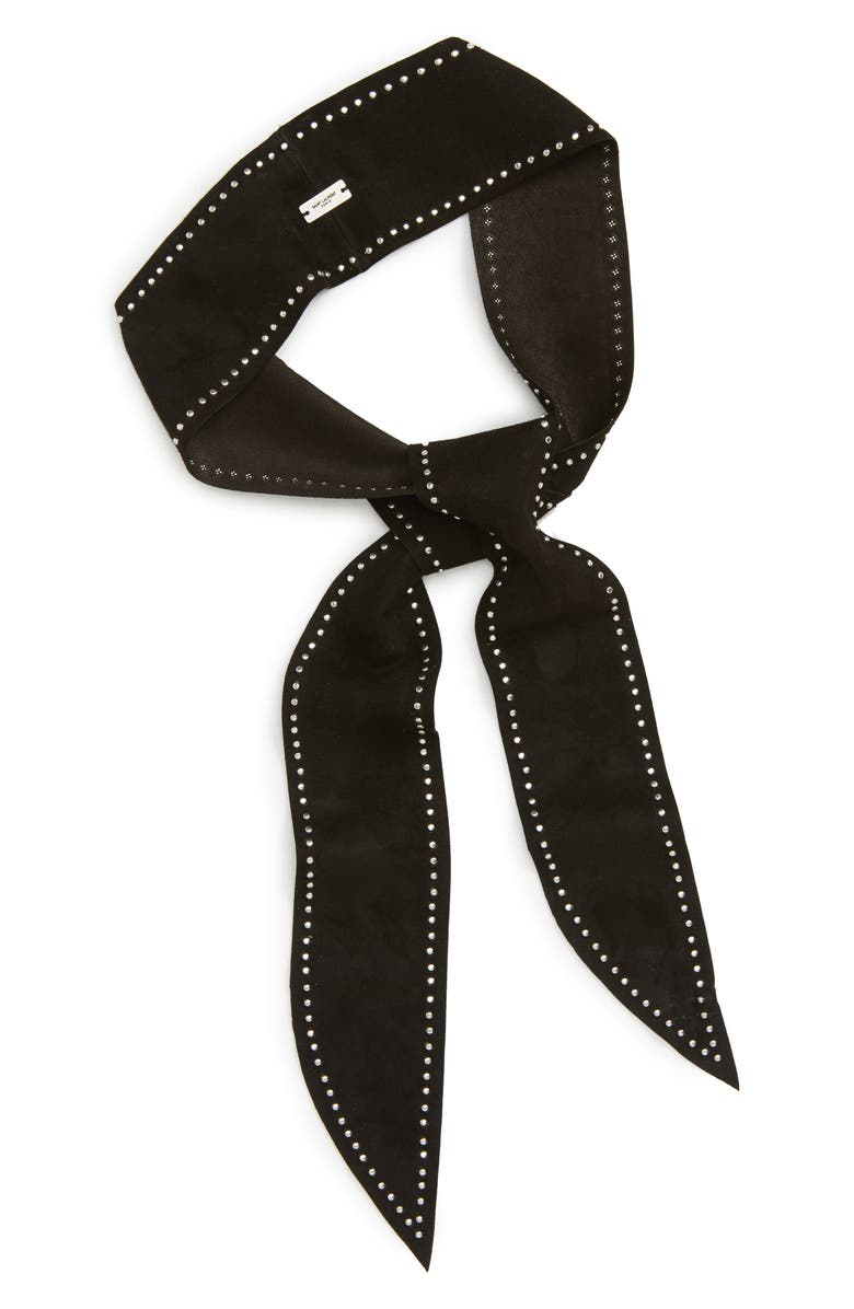 SAINT LAURENT Studded Leather Skinny Scarf, Main, color, NERO