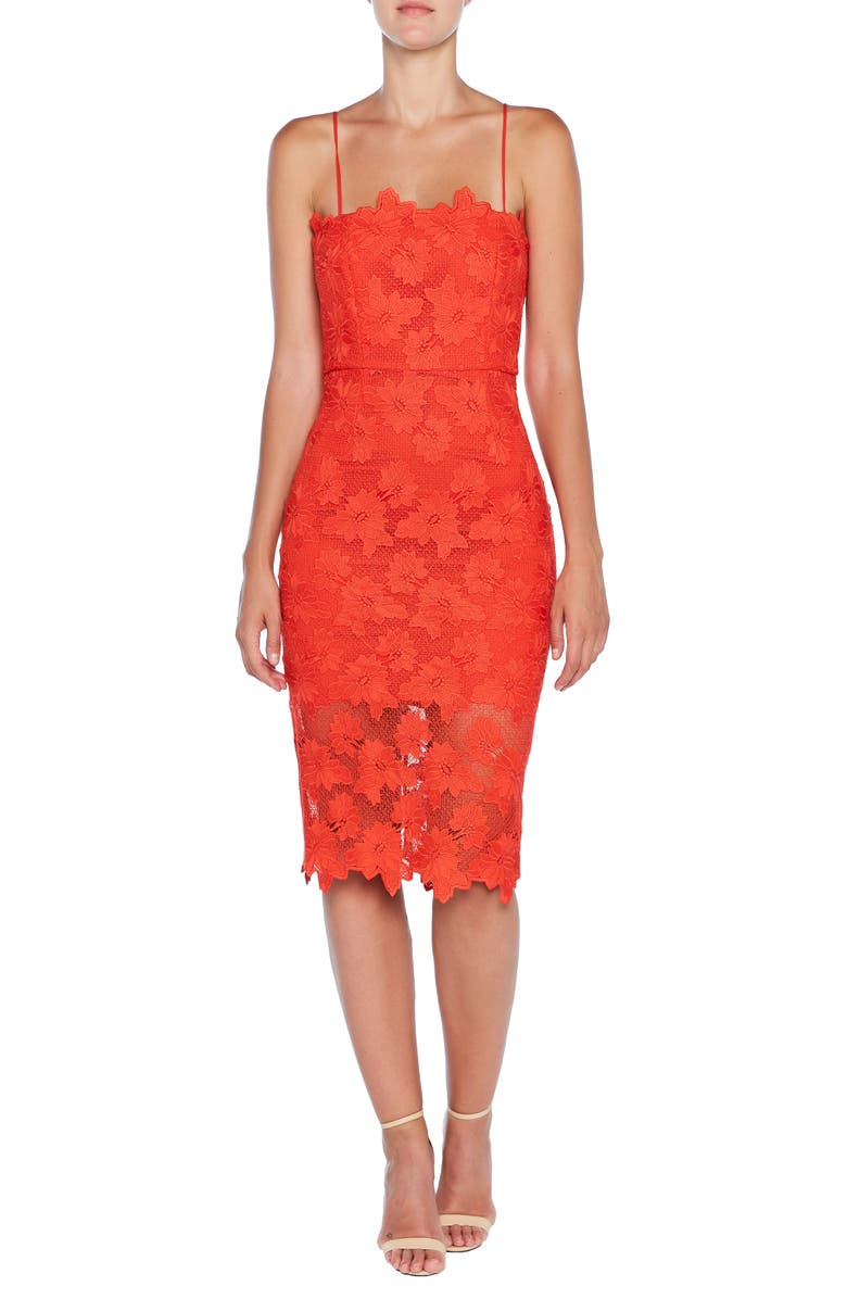 BARDOT Sunshine Lace Sheath Dress, Main, color, FIRE RED