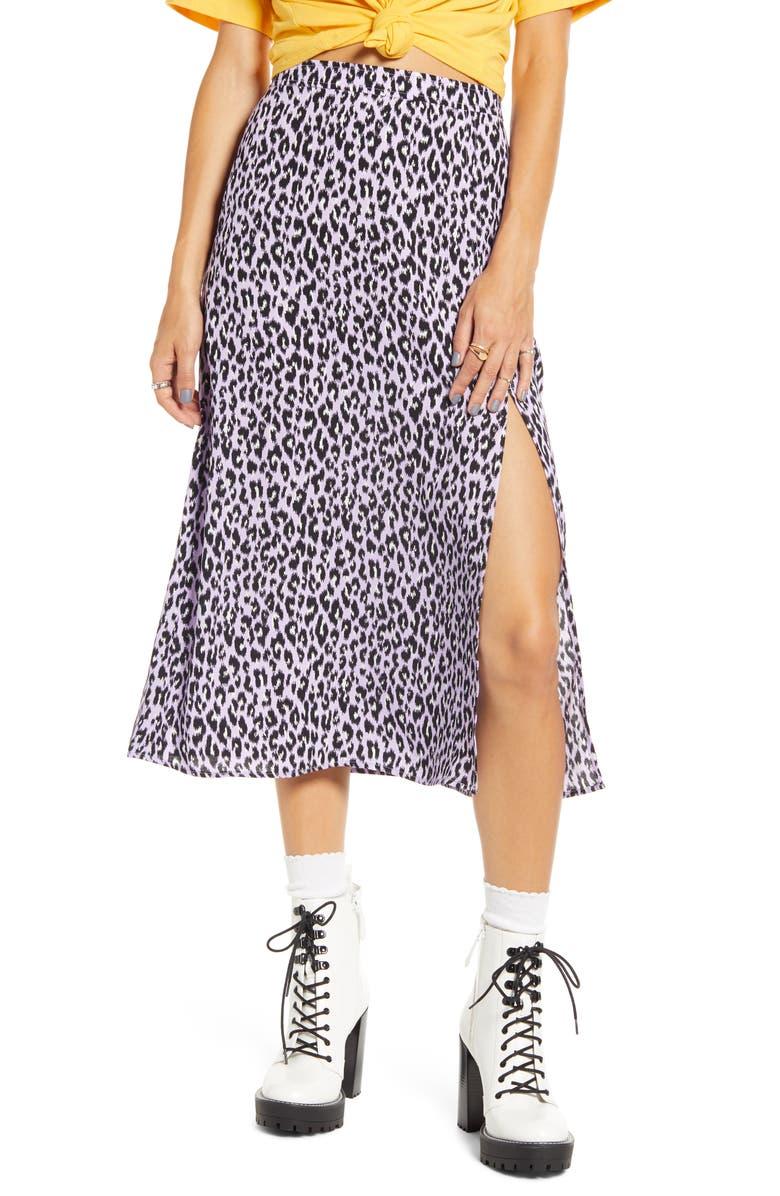 BP. x Claudia Sulewski Front Slit Midi Skirt, Main, color, PURPLE BETTA LEOPARD