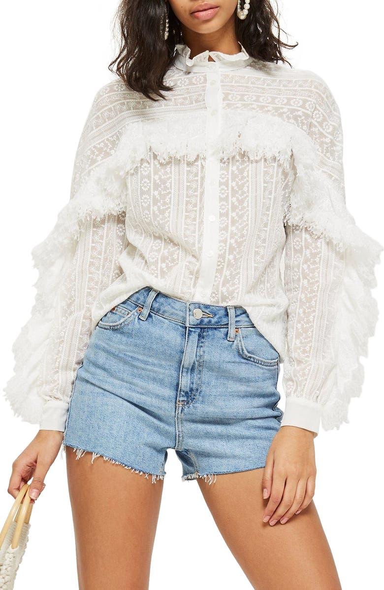 TOPSHOP Feather Trim Button Shirt, Main, color, 900