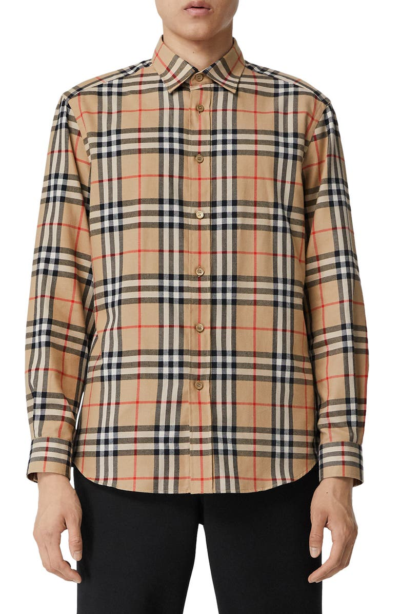 BURBERRY Chambers Check Button-Up Flannel Shirt, Main, color, BEIGE