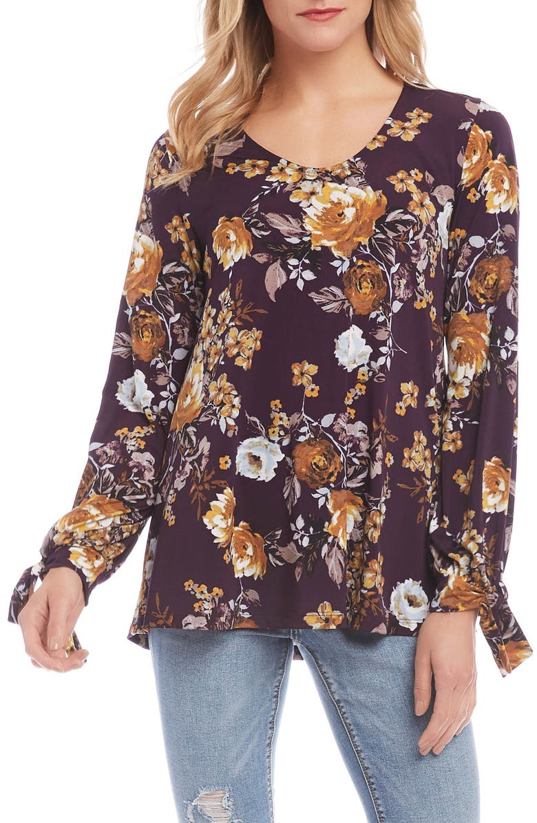 KAREN KANE Floral Tie Sleeve Top, Main, color, PRINT