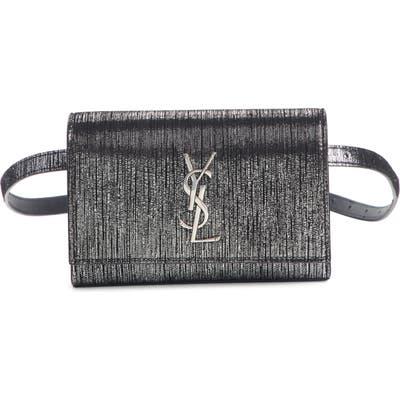 Saint Laurent Kate Lame Lambskin Leather Belt Bag - Black
