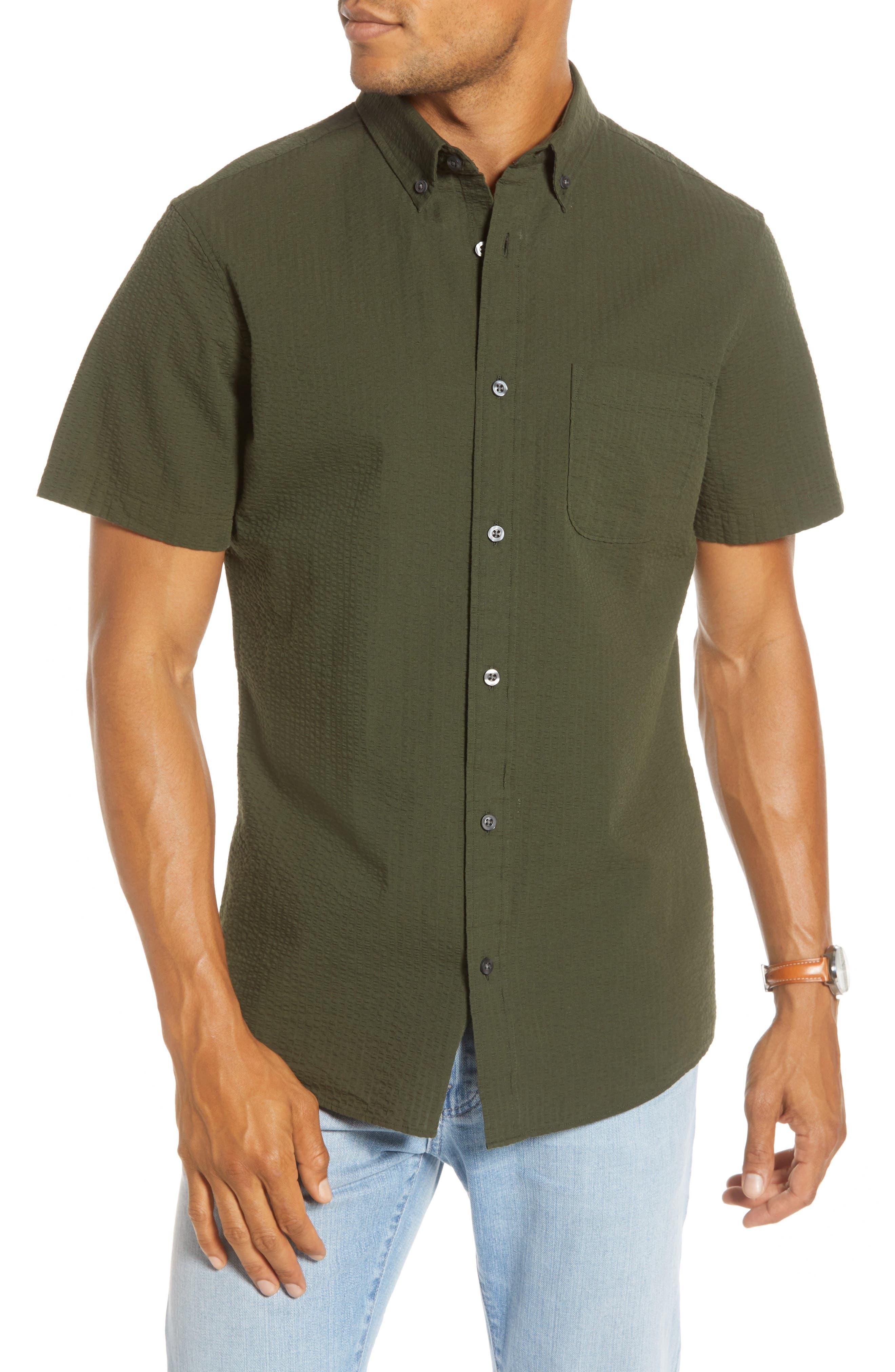 1901 Trim Fit Seersucker Sport Shirt, Green