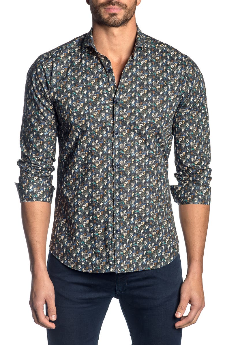JARED LANG Slim Fit Button-Up Sport Shirt, Main, color, BLUE SUNNIES