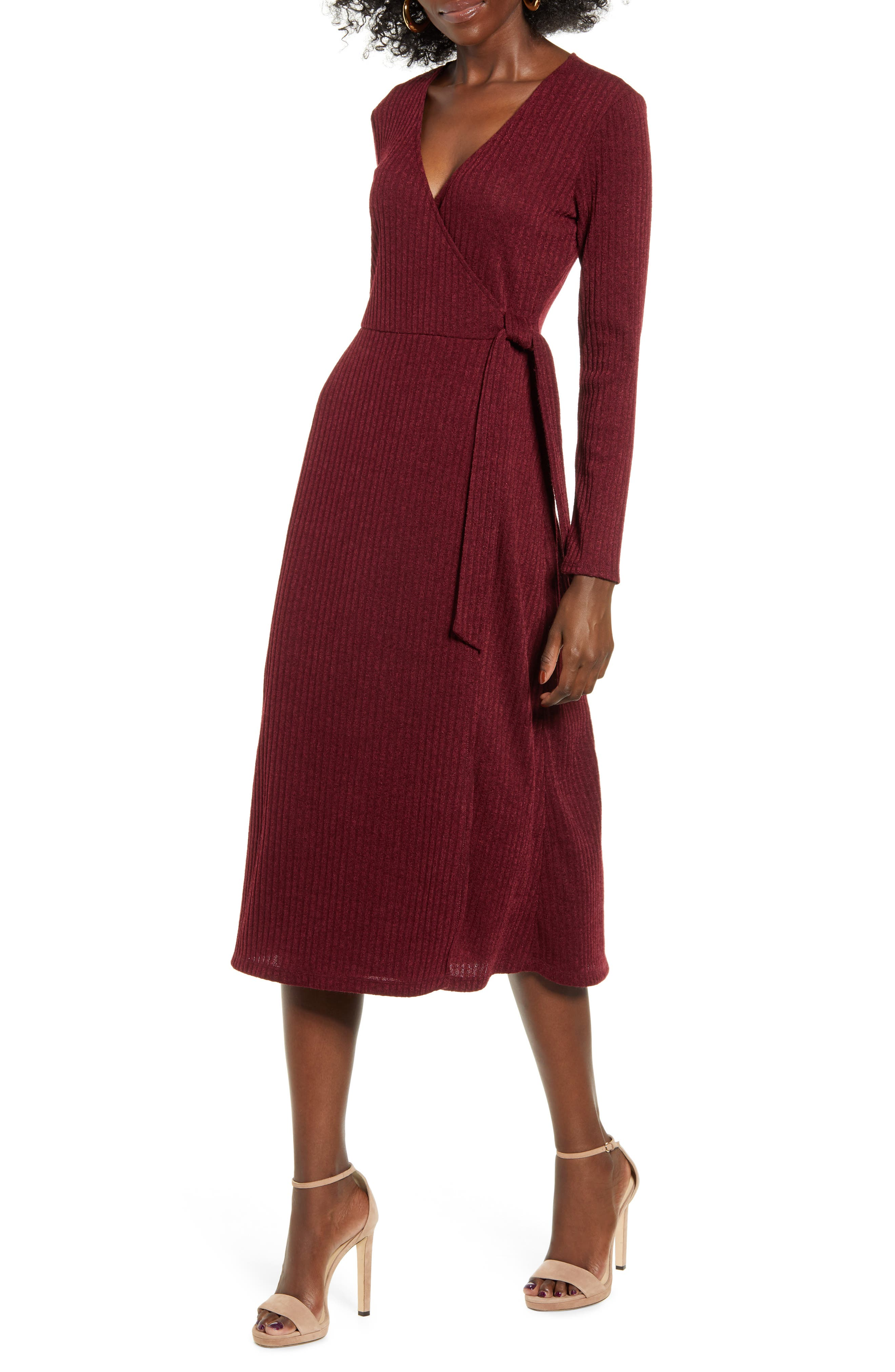 All in Favor Wrap Front Midi Dress