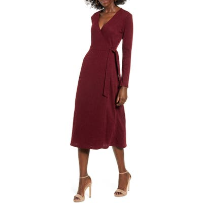 All In Favor Wrap Front Midi Dress, Burgundy