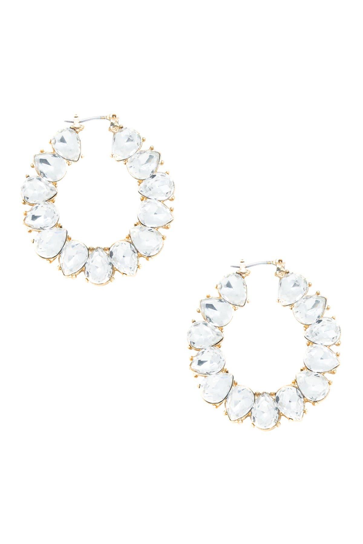 Image of Ettika 18K Gold Plated Statement Crystal Hoop Earrings