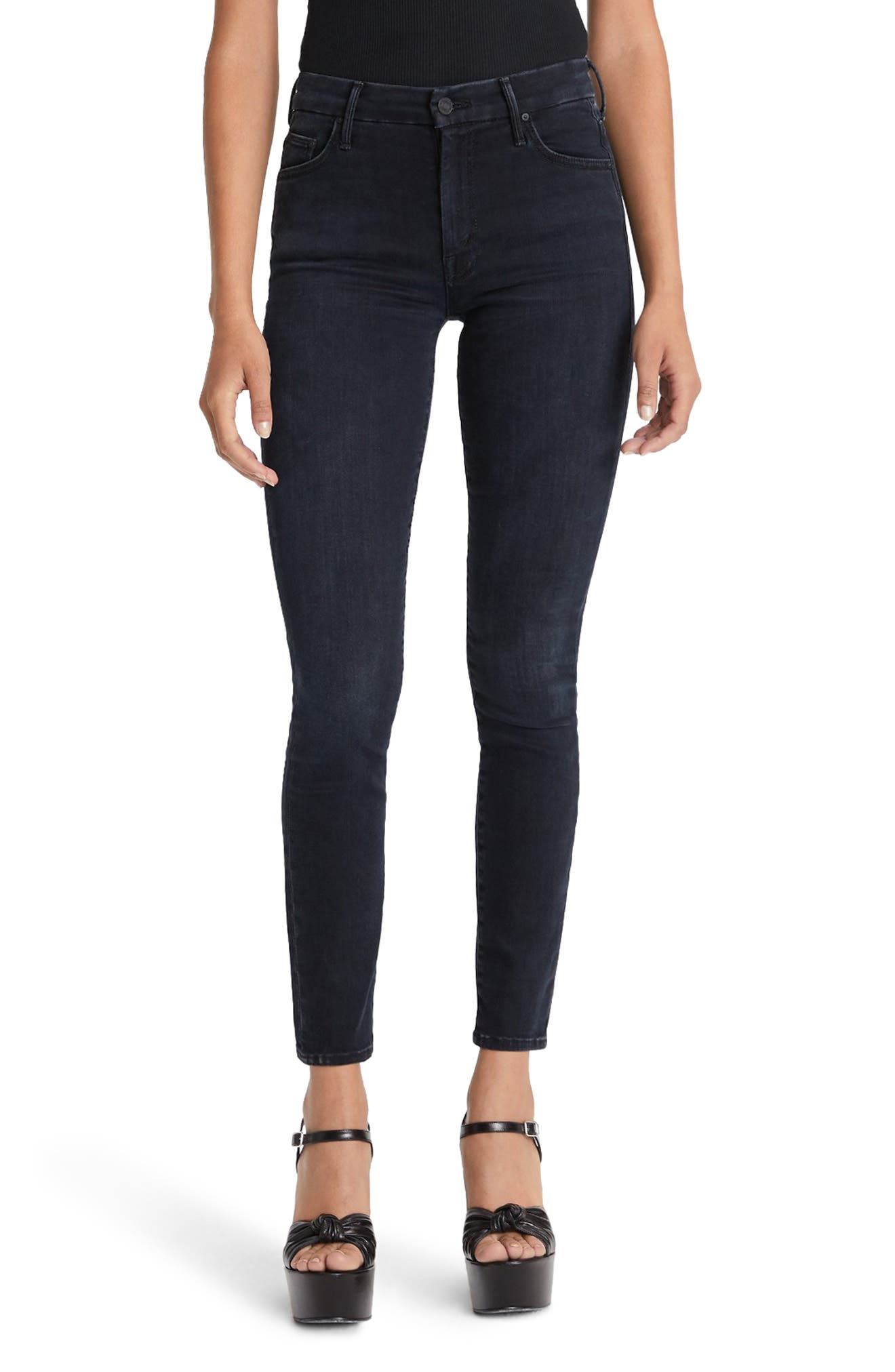 The Looker Embroidered High Waist Skinny Jeans by Mother