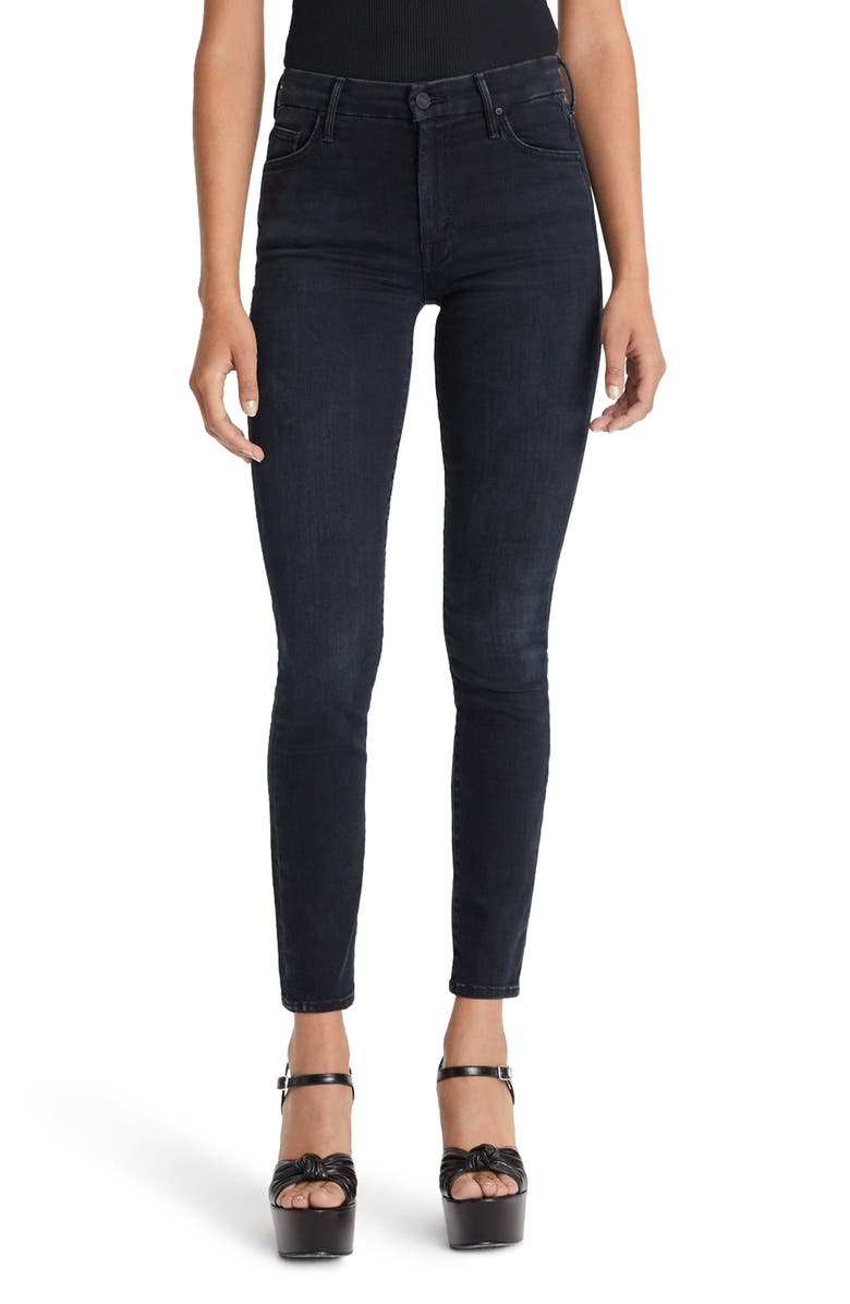 MOTHER The Looker Embroidered High Waist Skinny Jeans, Main, color, BLACKBIRD