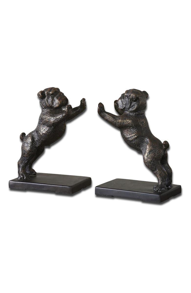 UTTERMOST Bulldogs Set of 2 Bookends, Main, color, BLACK/ BRONZE