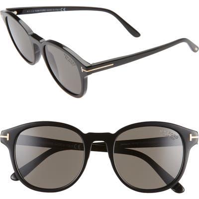 Tom Ford Jameson 55mm Cat Eye Polarized Sunglasses - Shiny Black/ Smoke Polarized