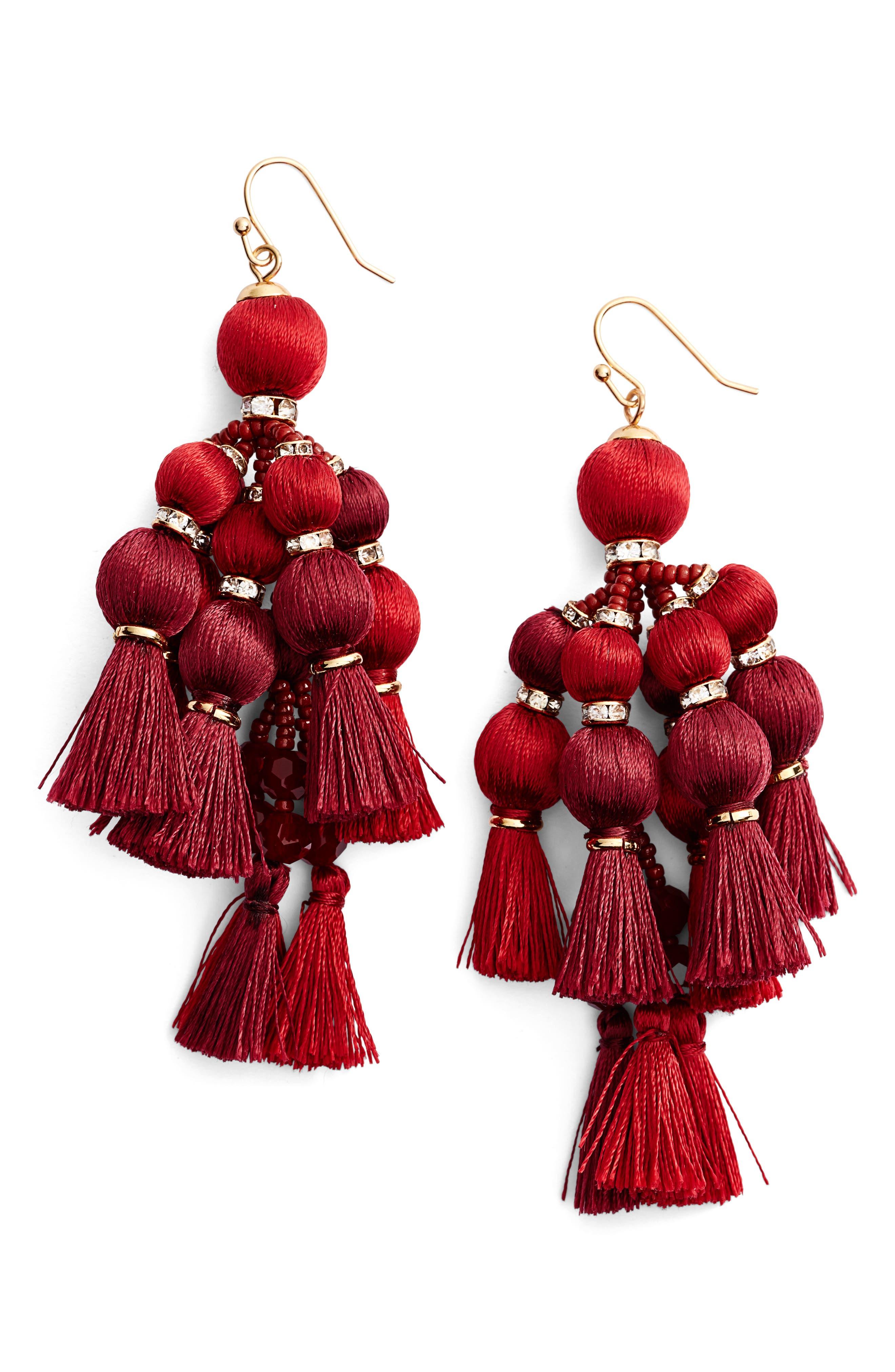 ,                             pretty pom tassel drop earrings,                             Main thumbnail 10, color,                             930