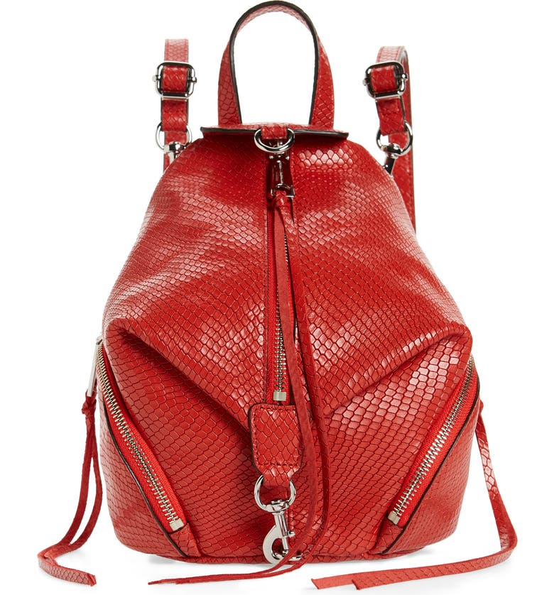 REBECCA MINKOFF Mini Julian Snake Embossed Leather Convertible Backpack, Main, color, 600