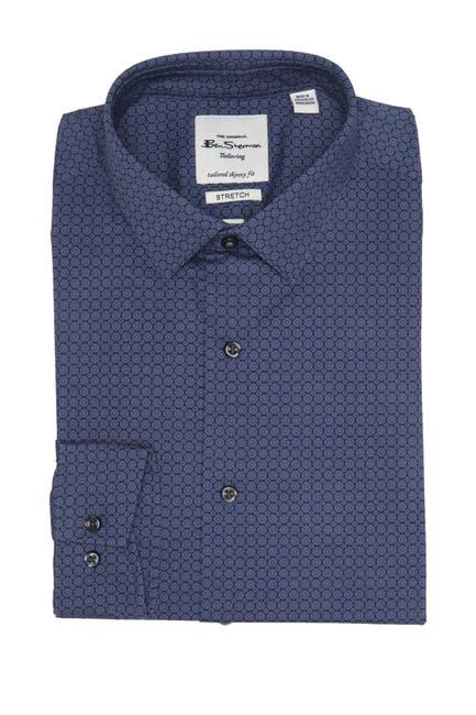 Image of Ben Sherman Navy Tonal Micro Floral Skinny Fit Shirt