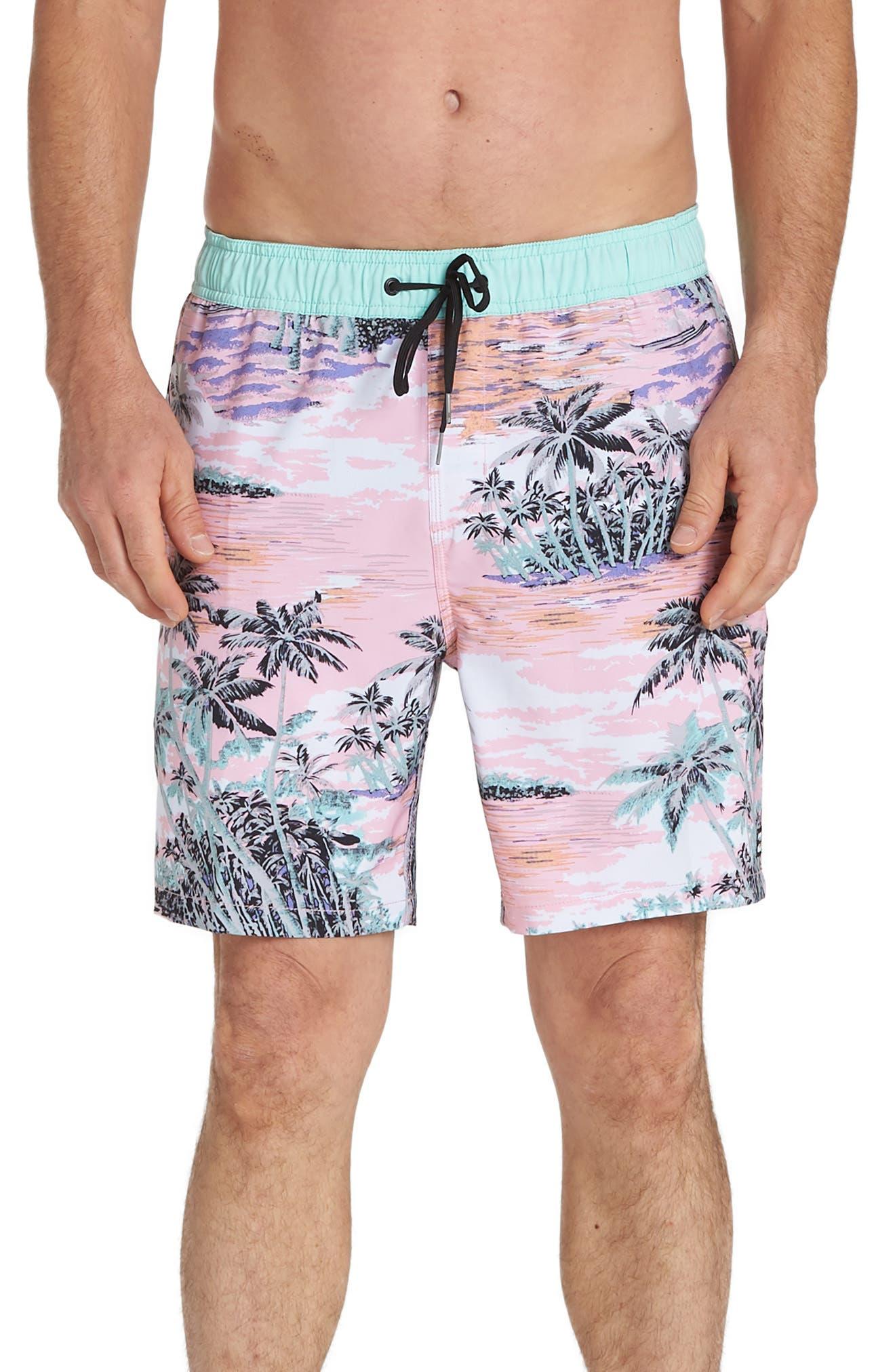 Billabong Sundays Layback Volley Swim Trunks, Pink