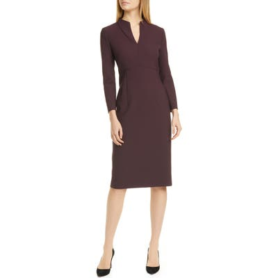Petite Boss Debara Power Crepe Long Sleeve Dress, Burgundy