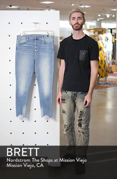 The Bella Chewed Hem Button Fly Ankle Skinny Jeans, sales video thumbnail