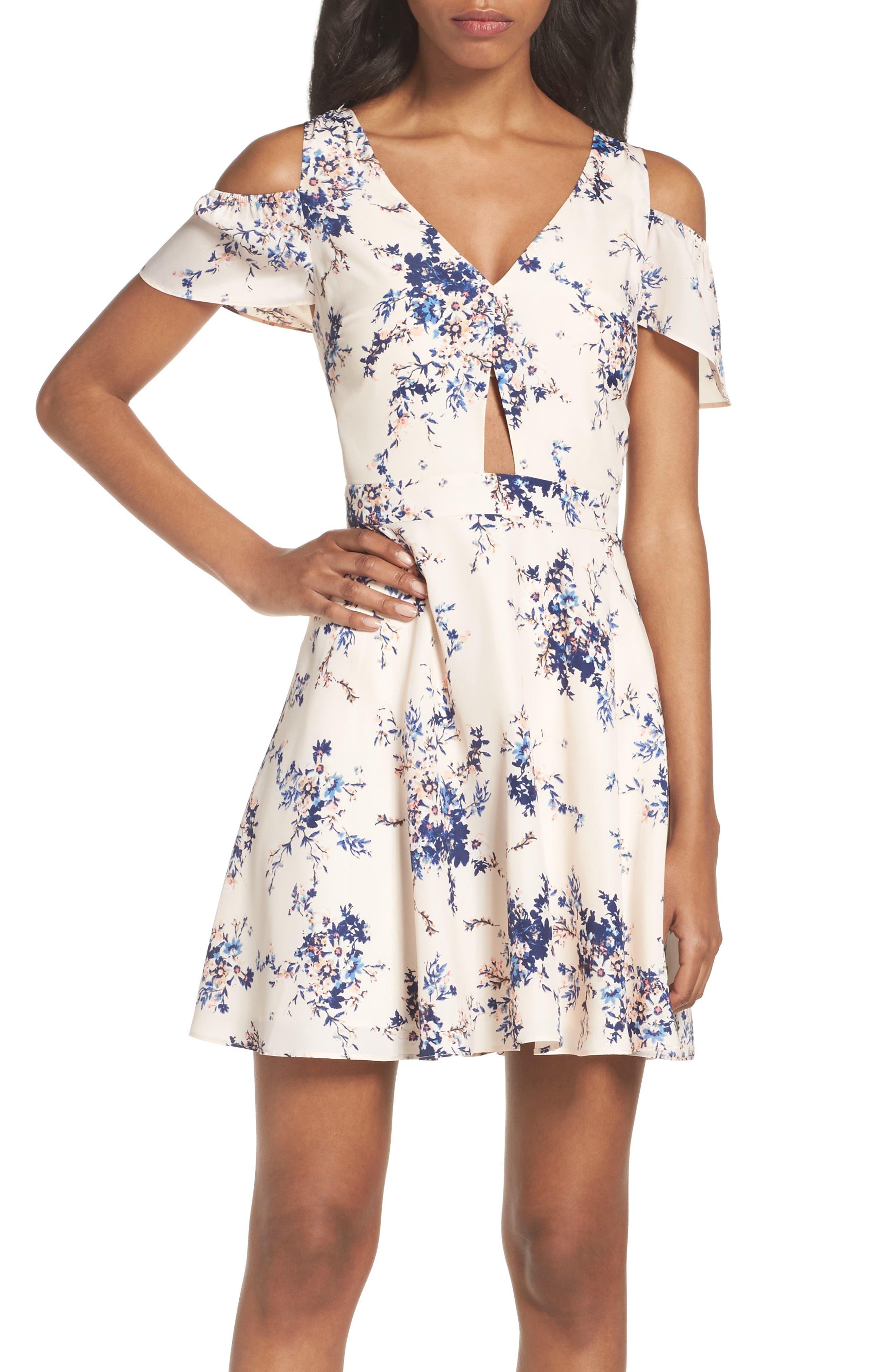 ,                             Chasing Butterflies Cold Shoulder Dress,                             Alternate thumbnail 5, color,                             908