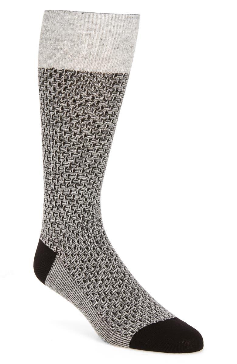 COLE HAAN Dog Bone Texture Crew Socks, Main, color, BLACK/ GREY