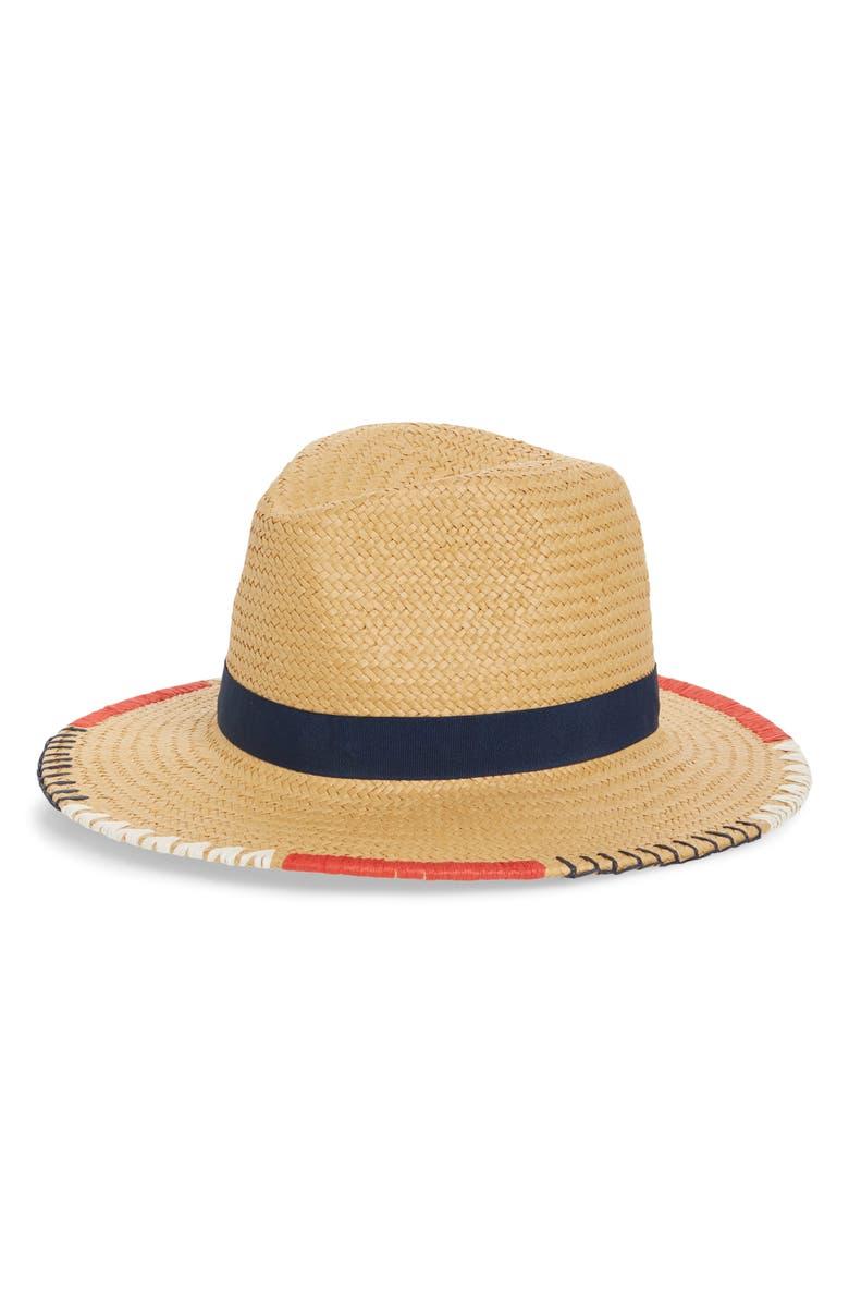 TREASURE & BOND Embroidered Straw Panama Hat, Main, color, 235