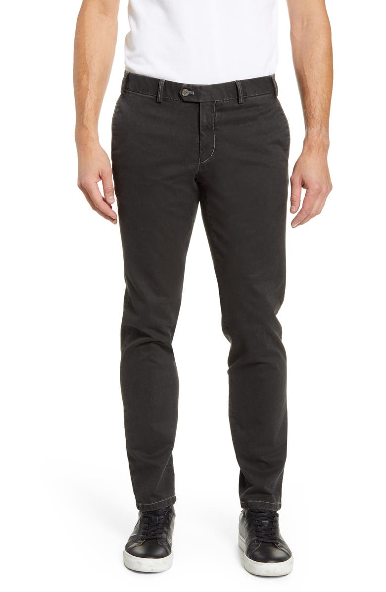 HILTL Tierre Slim Fit Washed Twill Pants, Main, color, CHARCOAL