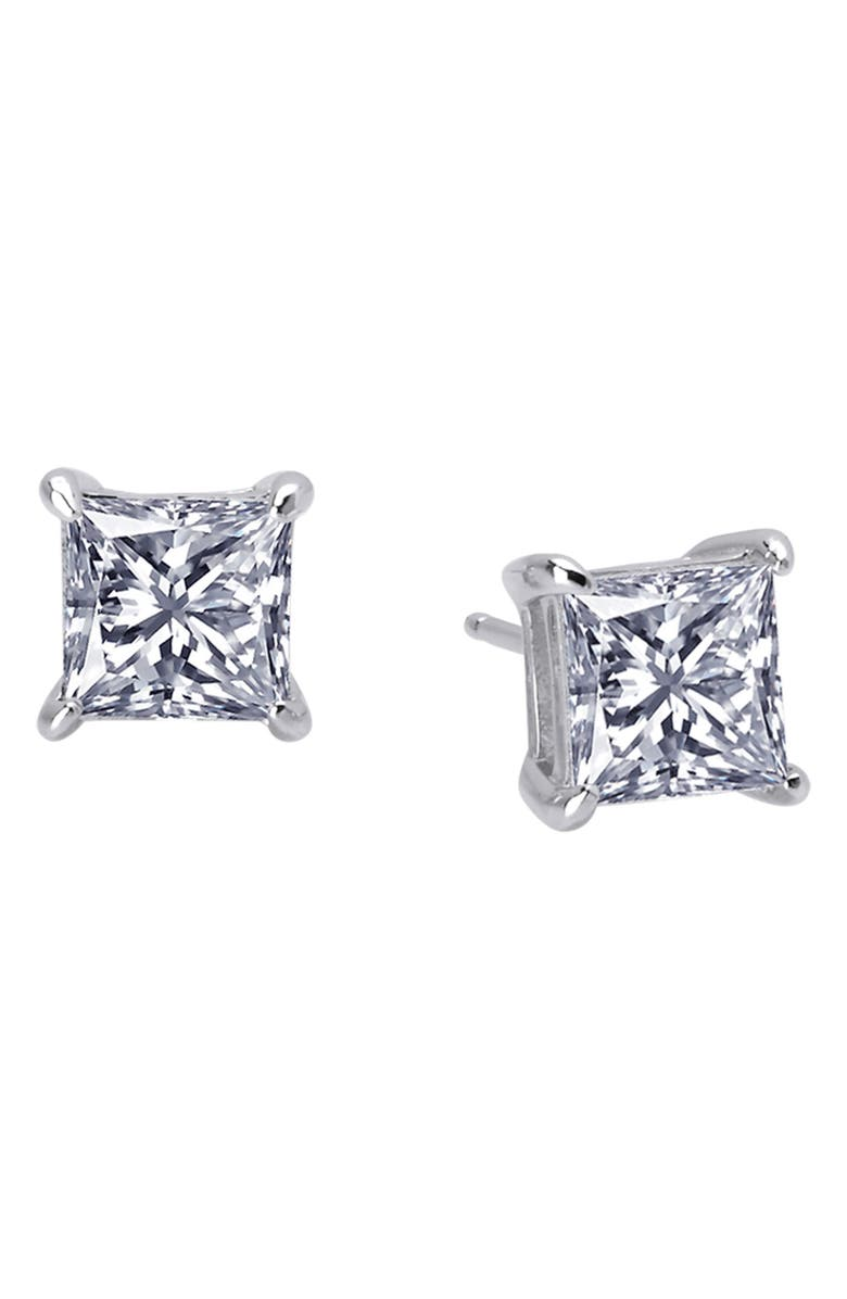 LAFONN Princess Cut Simulated Diamond Earrings, Main, color, SILVER/ CLEAR