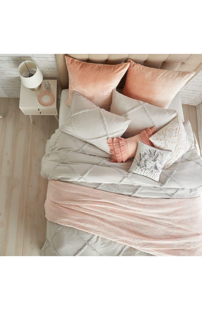 PERI HOME Chenille Lattice Duvet Cover, Main, color, GREY
