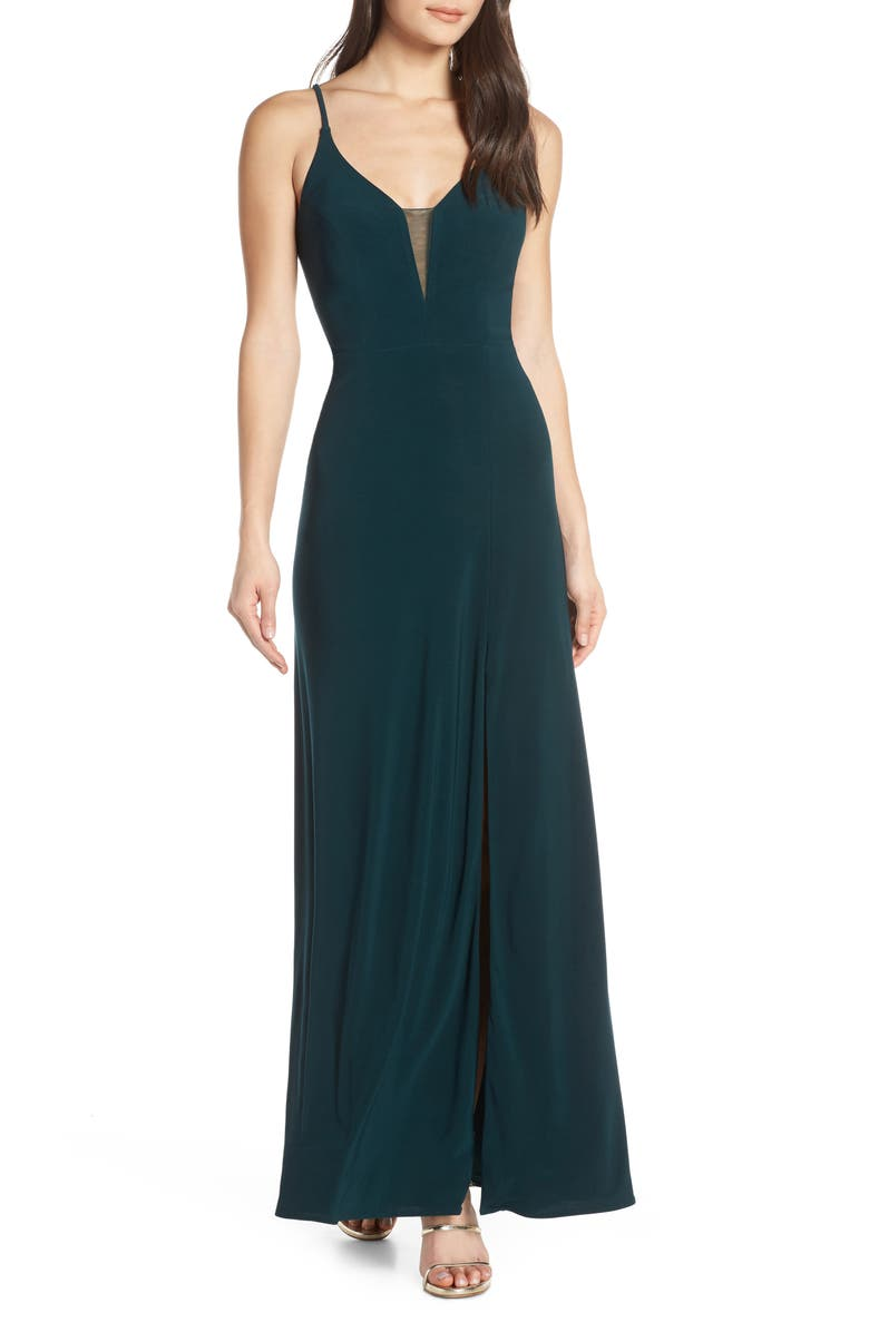 MORGAN & CO. Lace-Up Back Evening Dress, Main, color, 301