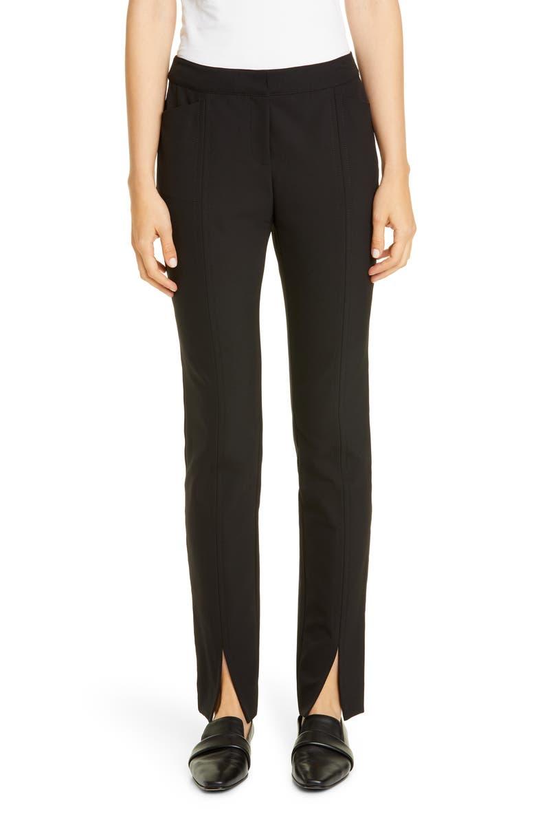 LAFAYETTE 148 NEW YORK Waldorf Front Slit Slim Pants, Main, color, BLACK