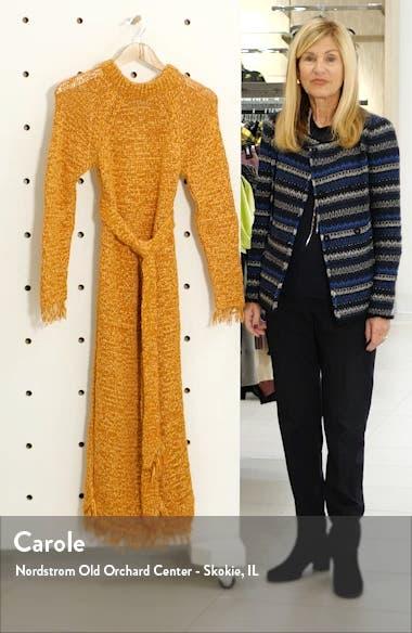 Kaiza Belted Long Sleeve Fringe Sweater Dress, sales video thumbnail