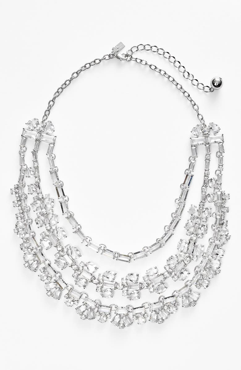 KATE SPADE NEW YORK 'crystal garden' bib necklace, Main, color, 000