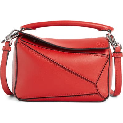 Loewe Puzzle Mini Calfskin Leather Bag - Red