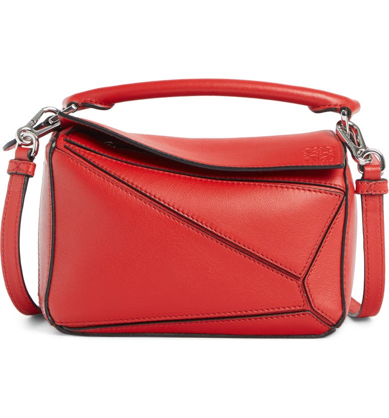 LOEWE Puzzle Mini Calfskin Leather Bag, Main, color, SCARLET RED