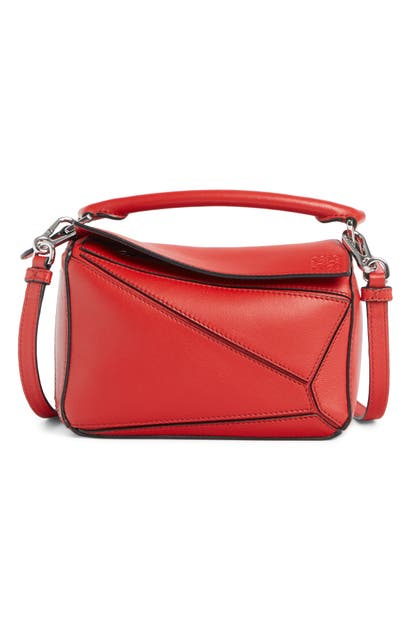 Loewe Bags PUZZLE MINI CALFSKIN LEATHER BAG - RED