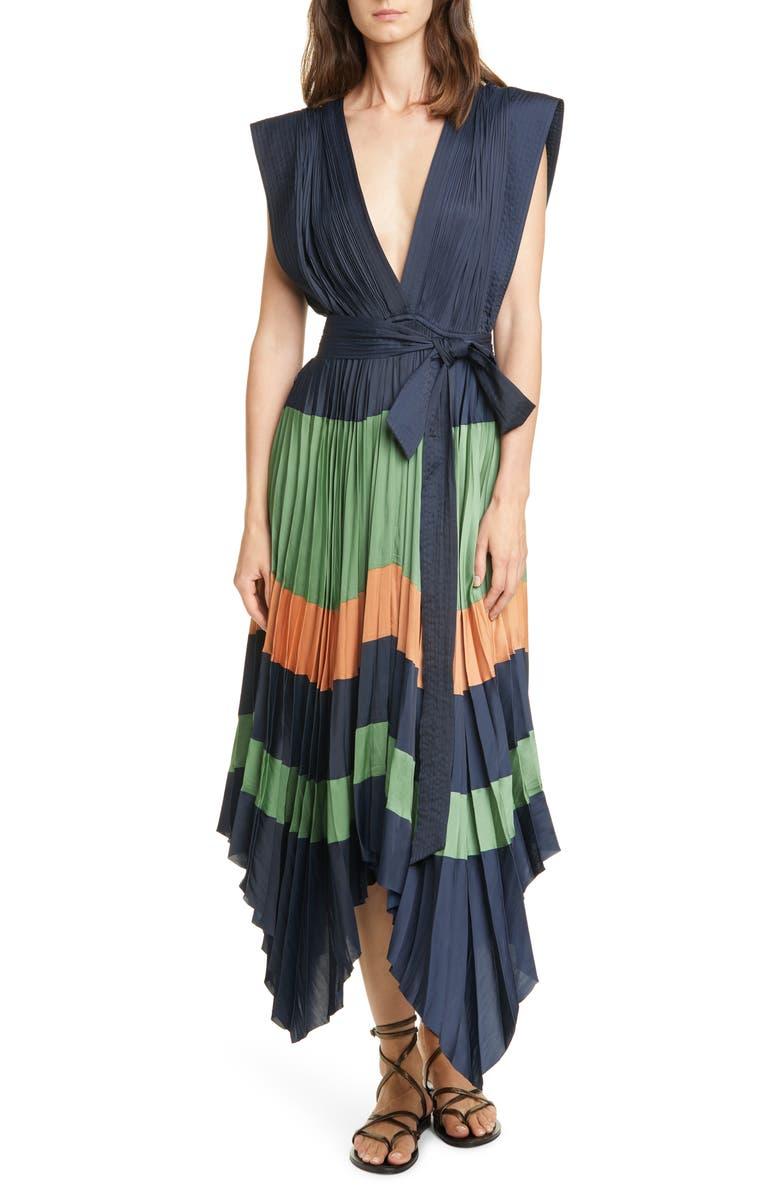 ULLA JOHNSON Mayshe Handkerchief Hem Dress, Main, color, MIDNIGHT