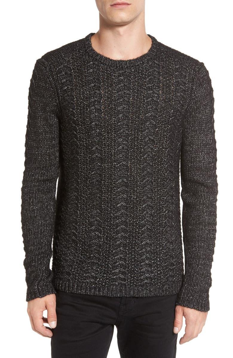 JOHN VARVATOS STAR USA Textured Knit Sweater, Main, color, 001