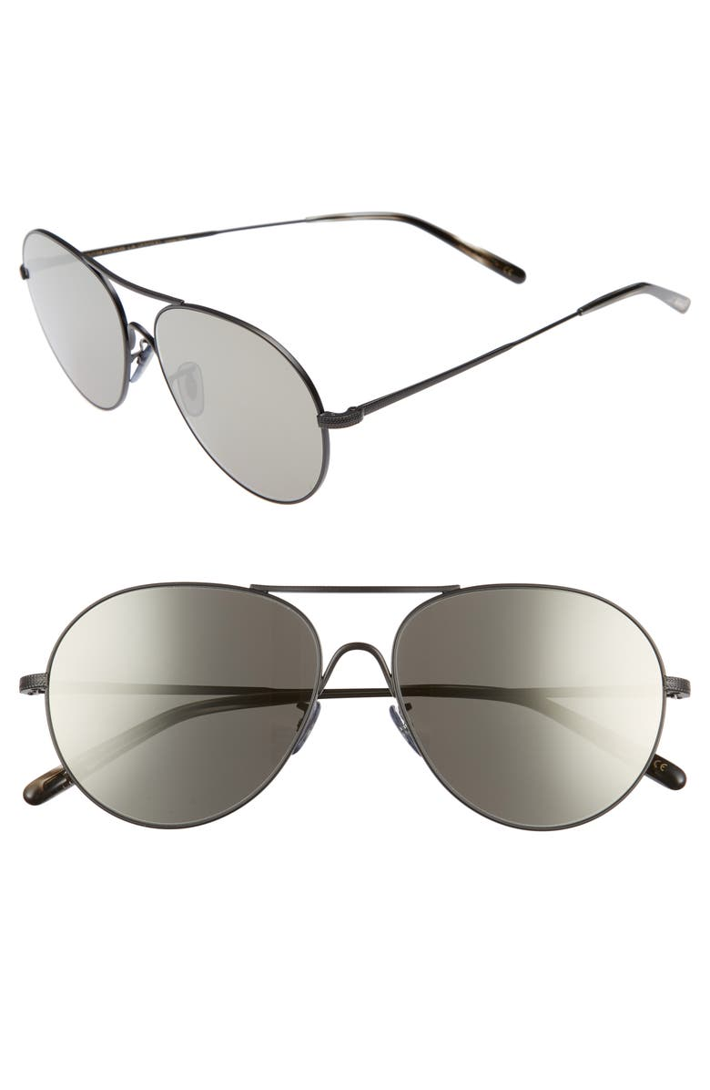 OLIVER PEOPLES Rockmore 58mm Aviator Sunglasses, Main, color, 020