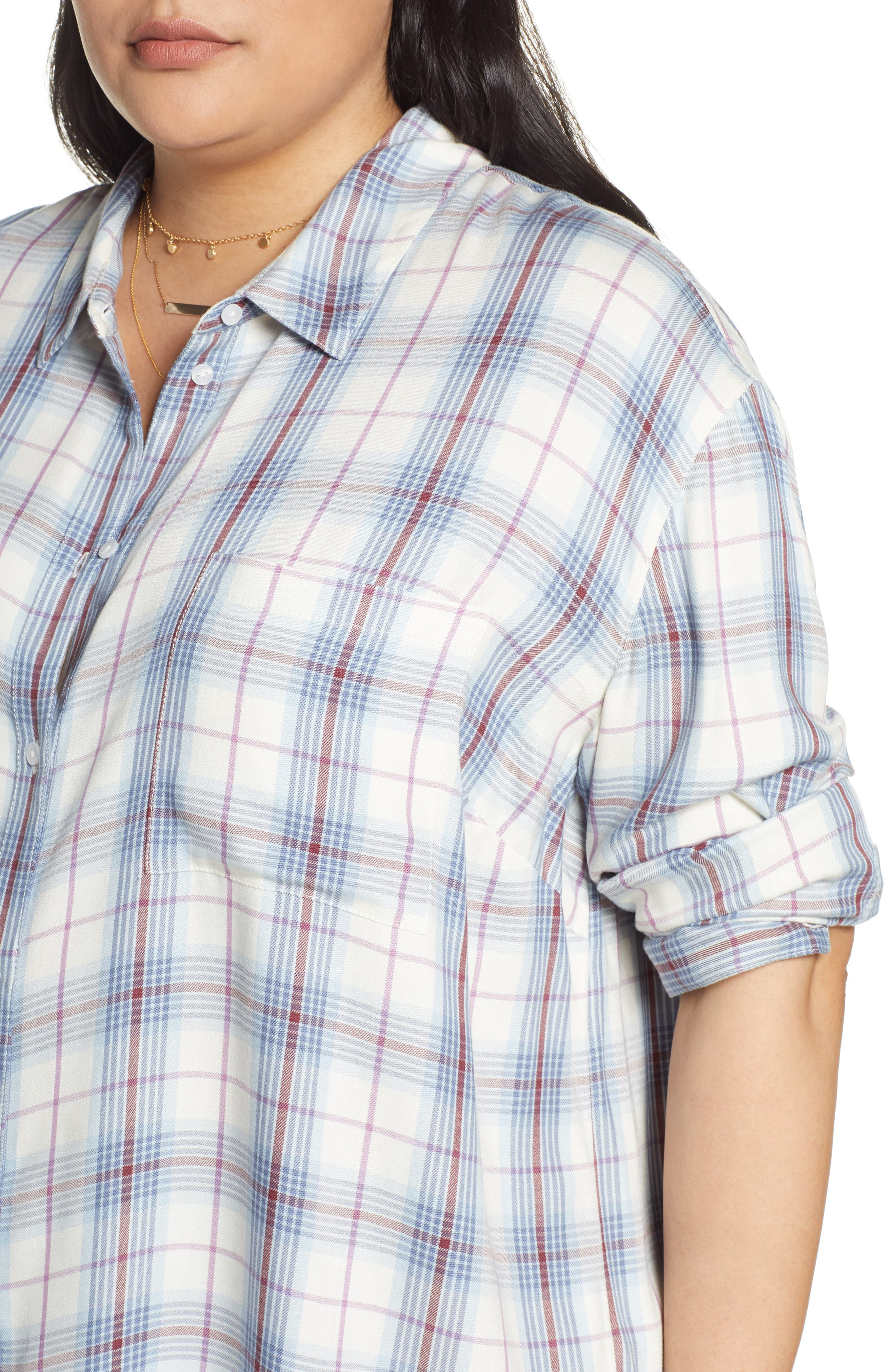 ,                             Lightweight Boyfriend Shirt,                             Alternate thumbnail 4, color,                             IVORY TARTINE PLAID