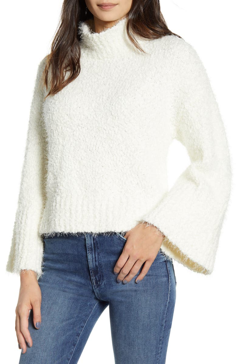 CUPCAKES AND CASHMERE Danyon Bouclé Pullover, Main, color, IVORY