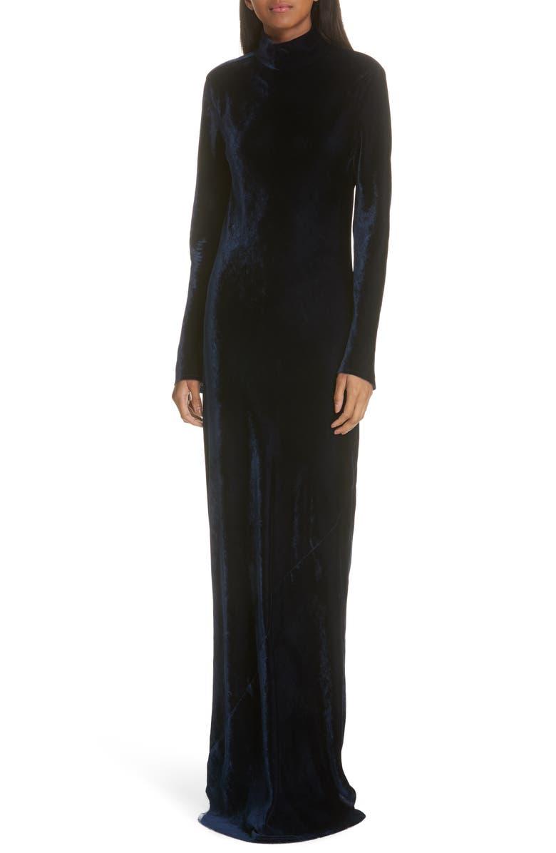 NILI LOTAN Genevieve Velvet Maxi Dress, Main, color, 411
