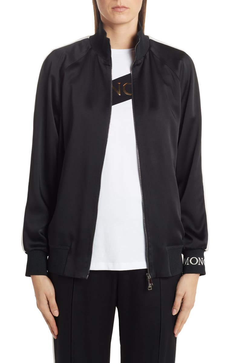 MONCLER Camicia Logo Track Jacket, Main, color, BLACK